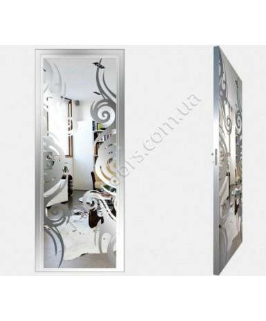 """Межкомнатные стеклокаркасные двери. Модель """"15 S"""". Фабрика Аксиома. Покрытие зеркало. Цвет серебро"""