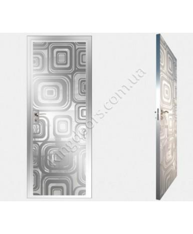 """Межкомнатные стеклокаркасные двери. Модель """"17 MW"""". Фабрика Аксиома. Покрытие зеркало. Цвет моноколор белый"""