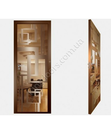 """Межкомнатные стеклокаркасные двери. Модель """"18 В"""". Фабрика Аксиома. Покрытие зеркало. Цвет бронза"""