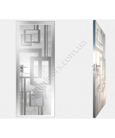 """Межкомнатные стеклокаркасные двери. Модель """"18 MW"""". Фабрика Аксиома. Покрытие зеркало. Цвет моноколор белый"""
