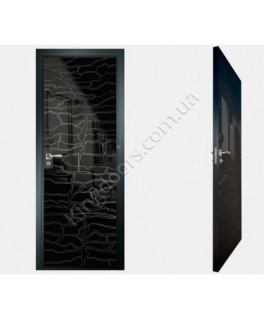 """Межкомнатные стеклокаркасные двери. Модель """"19 MB"""". Фабрика Аксиома. Покрытие зеркало. Цвет моноколор черный"""