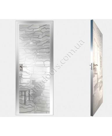 """Межкомнатные стеклокаркасные двери. Модель """"19 MW"""". Фабрика Аксиома. Покрытие зеркало. Цвет моноколор белый"""