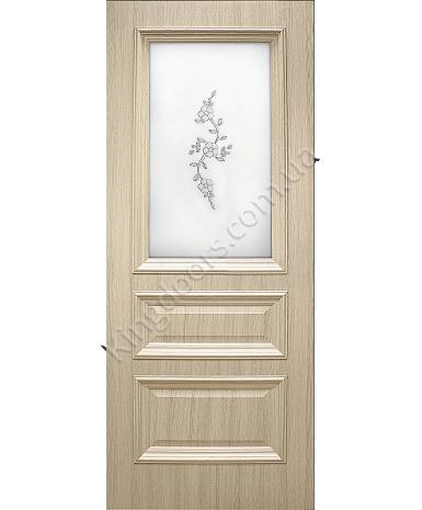"""Межкомнатные двери """"Сан Марко 1.2"""" ПО + ФП. Фабрика Омис. Покрытие пленка ПВХ. Цвет - ясень перламутр"""