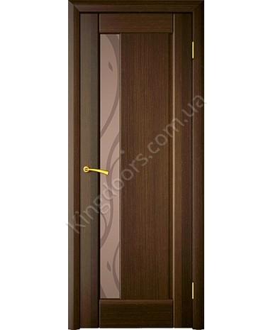 """Межкомнатные шпонированные двери """"Стелла 1"""" ПО + Рис 1.  НСД. Цвет - Каштан"""