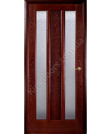 """Межкомнатные шпонированные двери """"Трояна"""" ПОО 2 стекла.  НСД. Цвет - каштан"""