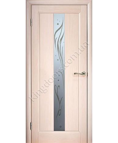 """Межкомнатные шпонированные двери """"Прима"""" ПО с рисунком.  WoodOk. Цвет - беленый дуб"""
