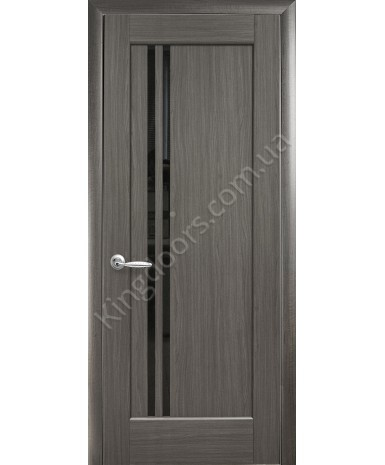 """Межкомнатные двери """"Делла"""",ПО, черное стекло, пленка ПВХ, фабрика """"Новый стиль"""", цвет - грей"""