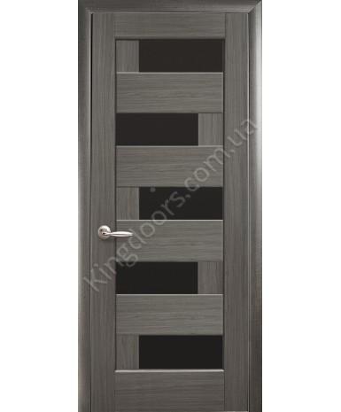 """Межкомнатные двери """"Пиана"""",ПО BLK черным стеклом, пленка ПВХ, фабрика """"Новый стиль"""", цвет - грей."""