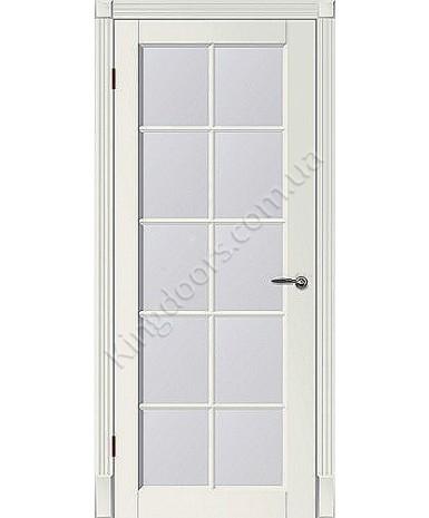 """Межкомнатные шпонированные двери """"Tecoro k-3 """" ПО с решеткой.  WoodOk. Цвет - белая эмаль"""