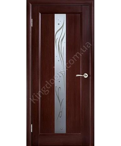 """Межкомнатные шпонированные двери """"Прима"""" ПО с рисунком.  WoodOk. Цвет - венге"""